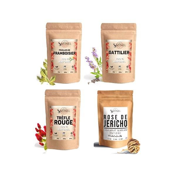 Pack 4 plantes tisane fertilité (4X100g)